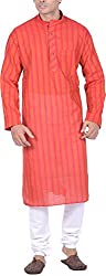 Kisah Men's Handloom Cotton Kurta (KA-S-047K-38_Red_38)