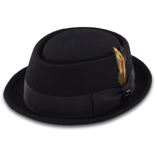Belfry Be-Bop 100% Wool Felt Men's Pork Pie Hat in Black or Gray Medium (Men Pork Pie Hat compare prices)