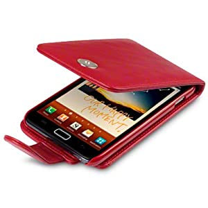 RED SAMSUNG GALAXY NOTE PU LEATHER FLIP CASE / COVER / POCKET / POUCH