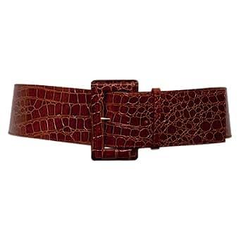 evogues plus size croco print patent leather belt brown
