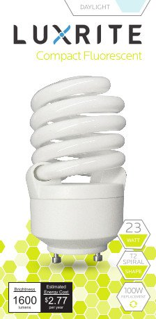Luxrite LR22325 (4-Pack) CF23 23-Watt CFL T2 Spiral Bulb, Equivalent To 100W Incandescent, Daylight 6500K, 1600 Lumens, GU24 Bi-Pin Base (Lightbulbs With Prongs compare prices)