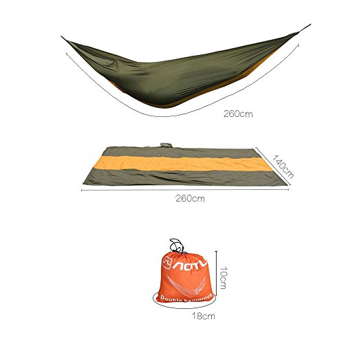 Travel Camping Outdoor Nylon Fabric Hammock Parachute Sleep For 2 Person Brown (Eagles Peak 6 Person Tent compare prices)