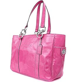 Coach Handbag - Patent Leather Pink Gallery East West Tote Bag Silver 12839