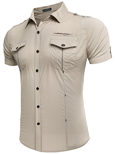 Neleus Men's Metal Button Short Sleeve Work Shirt,312,Khaki,Medium (39 Inch Men Khakis compare prices)
