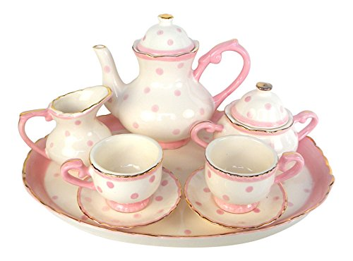 Children's Porcelain Miniature Tea Set for 2 Pink Polka Dots