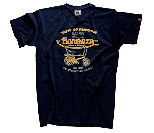 shirtzshop-herren-taste-of-freedom-bonanza-fahrrad-chopper-t-shirt-navy-xxxl