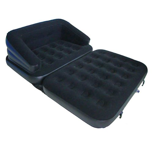 Latex 5-in-1 Inflatable Flocked Sofa, 200 x 137 x 53 cm, Black