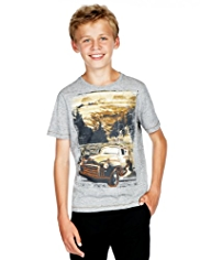 Pure Cotton Truck Print T-Shirt
