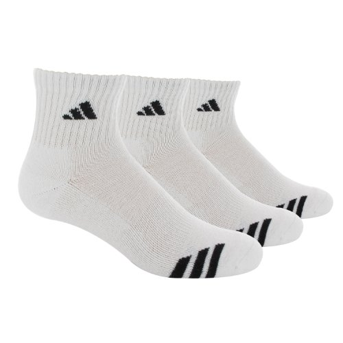 Adidas Men's Cushioned 3ST 3-Pack QTR Sock, White/Black, Shoe Size 6-12