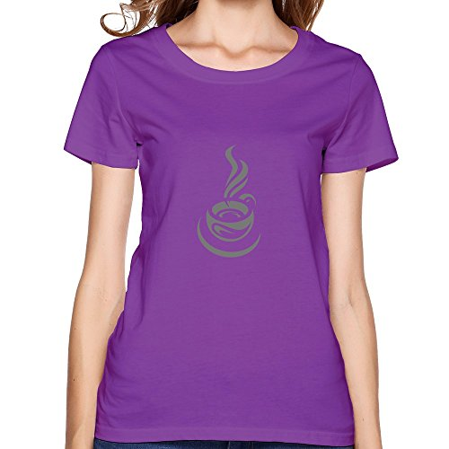 Lfd Women'S Coffee Cup Cotton Round Collar T Shirt 21 Purple