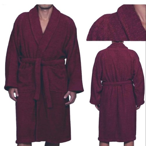 Marrikas Unisex Large Egyptian Cotton Burgundy Robe front-999243