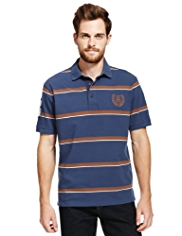 Blue Harbour Pure Cotton Tipped Striped Polo Shirt