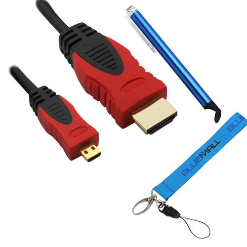 Birugear 6Ft Micro-Hdmi To Hdmi Cable (Black/Red) & Blue Stylus For Ativ Tab 3 Xe300Tzc, Ativ Q, Nx2000, Ativ Smart Pc Pro 700T *Wrist Strap*