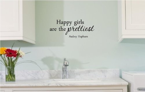 Happy Girls Are The Prettiest. Audrey Hepburn. Vinyl Wall Art Inspirational Quotes And Saying Home Decor Decal Sticker front-809356