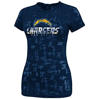 NFL Ladies San Diego Chargers Dream II Athletic Navy Etch Short Sleeve Crew Neck Tee by VF LSG
