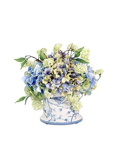 Creative Displays Inc. Victorian Hydrangea and Snow Ball Planter, White/Green/Blue