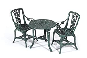 Greenhurst Rose Plastic 3 Piece Patio Set, Green, with 2 Chairs and Table