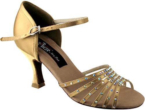 "Vfs Competitive Dancer Series 2803 With Crystals 2.5"" Or 3"" Heel (2 Colors: Black Satin, Tan Satin) (6.5-2.5"", Tan Satin)"