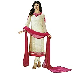 Latest Wize White Straight Cut Georgette Brasso Party Dress Material with Chiffon Dupatta