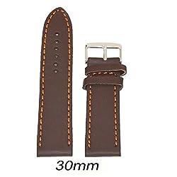 Like 30 mm Leather Plain Matte Finish Watch Strap (Brown)