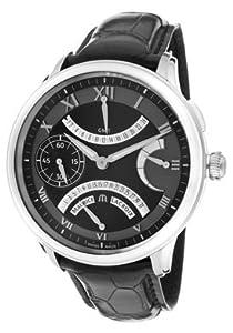 Men's Masterpiece Mechanical GMT Retrograde Black Dial Black Leather