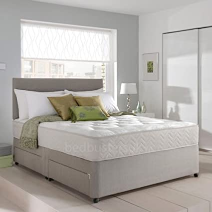Grey Suede Memory Foam Divan Bed Set With Mattress, Headboard and 2 free drawers 5ft King Size