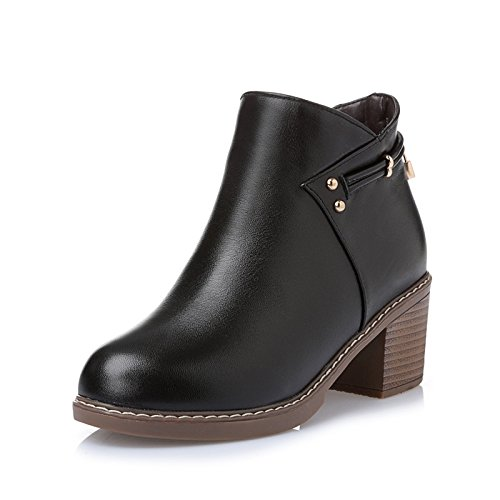 Martin in pelle stivaletti stivali casual stile grosso tacchi stivali donna stivale piatto , black , 37