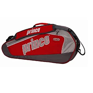 Prince EXO3 Triple Tennis Bag, Grey/Red/Silver