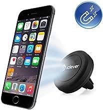iClever® IC-CH05 Support téléphone aimanté pour voiture/fixation magnétique du mobile sur la grille d'aération dans votre auto magnétique universel Pour Apple iPhone 6 6 Plus, iPhone 5S 5C 5 4S, Samsung Galaxy S6 Edge, S6 S5 S4 S3, Nexus 5 4, HTC One M9 M8 et MP3 MP4 PDA GPS , Noir