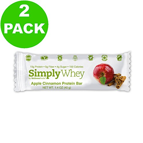 Simply Whey Protein Bar, Apple Cinnamon, 1.4oz Bar (24 Pack)