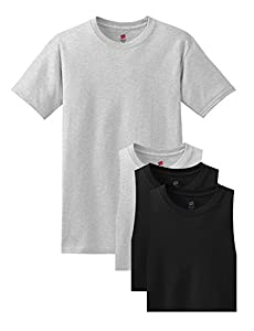 Hanes Men's 4 Pack Comfortsoft T-Shirt, 2 Ash / 2 Black, XL (Pack4)