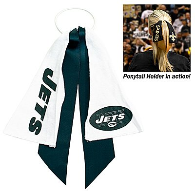 NEW YORK JETS PONYTAIL HOLDER HAIR TIE RIBBON at Amazon.com