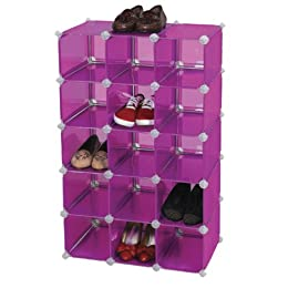 Product Image Storage Solutions 15-Pair Shoe Cubby Purple