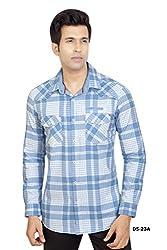 Blue-White Broad Checks Cotton Shirt