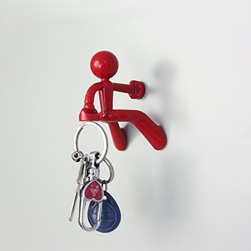 Key Pete Strong Lovely Functional Magnetic Key Holder Hook Rack Stick Note Gift Toy for Anyone (Red)
