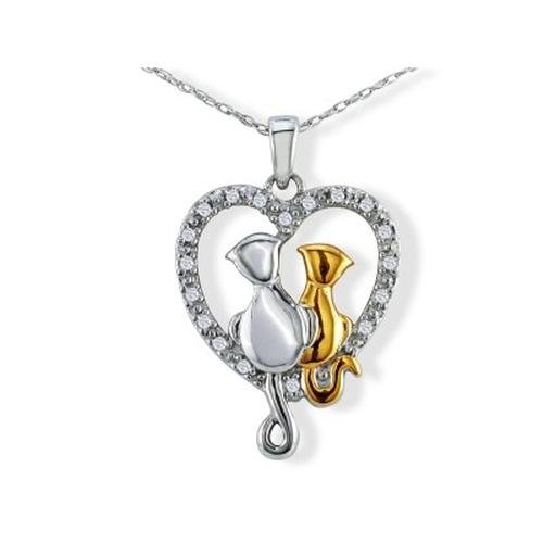 Sterling Silver Diamond Cat in Heart Pendant (.08ct tw)