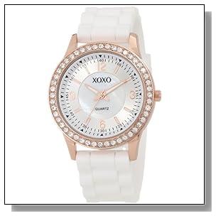 XOXO Women's XO8038 White Bumpy Silicone Rubber Strap Watch