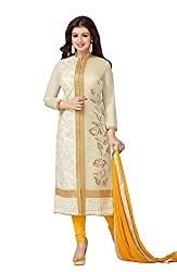 M Fab Ethnic Embroidered Cream Chanderi Cotton Free Size Straight Salwar Suit Dupatta Semi stitched Dress Material