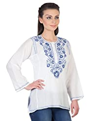 YAK International Cotton Blue Round Neck Kurti For Women - B00UAAX5AC