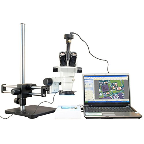 Omax 6.7X-45X Zoom Stereo Microscope+Metal Shell 144 Led Ring Light+5.0Mp Camera+Dual Bar Boom Stand