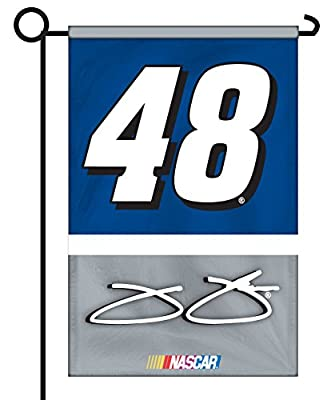 Jimmie Johnson #48 2-Sided GARDEN Flag WITH METAL POLE Banner Nascar Racing