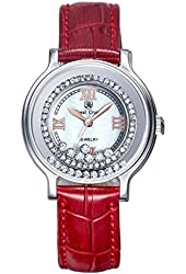 Royal Crown Women's Leather Wrist Watches Langii-3638l Red Quartz Mother of Pearl Dial