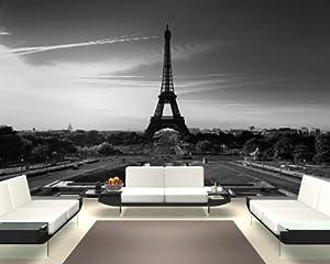 """Bilderdepot24 selbstklebende Fototapete """"Paris bei Nacht - schwarz weiss"""" 420x270 cm - direkt vom Hersteller"""