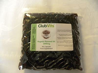 Club Vits Organic Flaxseed Oil 1000mg - 365 Capsules GRIP SEAL BAG from Club Vits Ltd