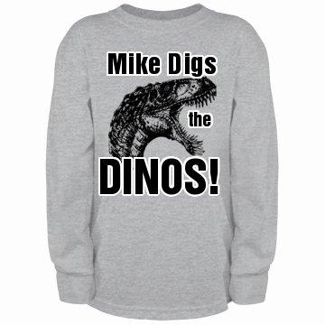Mike Likes Dinosaurs: Custom Youth Long Sleeve T-Shirt