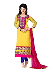 Yellow Embroidered Chanderi Suit