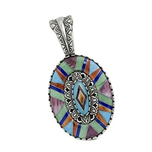 Southwest Spirit Sterling Silver Turquoise Multi-Gemstone Channel Inlay Floral Pendant Enhancer