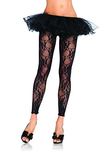 Leg Avenue Women's Floral Lace Footless Tights, Black, One