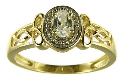 9ct Yellow Gold Ladies' Oval Cubic Zirconia with Celtic Knot Shoulder Ring Size Q