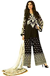 Clickedia Women's Bombay Cotton Satin Black Salwaar Suit Dupatta - Dress Material
